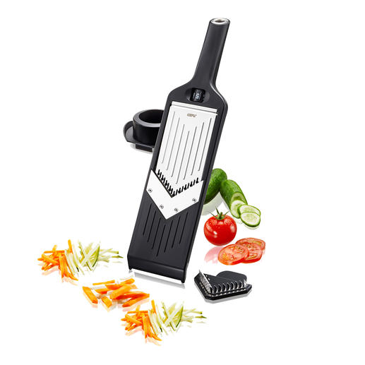 Kompakter V-Hobel Hobelt Scheiben, Stifte und feine Juliennes – ohne Rucken und Reißen. Passt in jede Schublade. Und sogar an die Küchenreling.