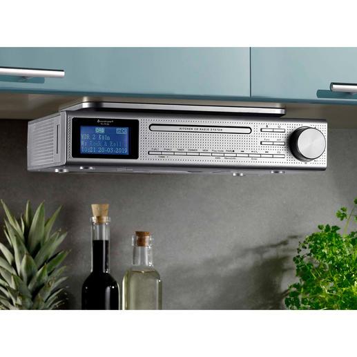 Küchen-Musikcenter Elite Line Spielt FM- und Digitalradio, CD und MP3-Musik. Mit Bluetooth-Empfang, USB-Wiedergabe und Klinkenanschluss.