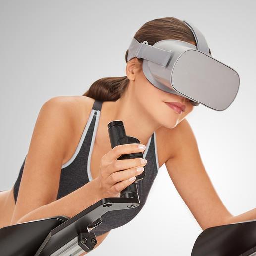Über Bewegungssensoren am Gerät und die Software in Ihrer Virtual-Reality-Brille steuern Sie Ihr imaginäres Fluggerät.