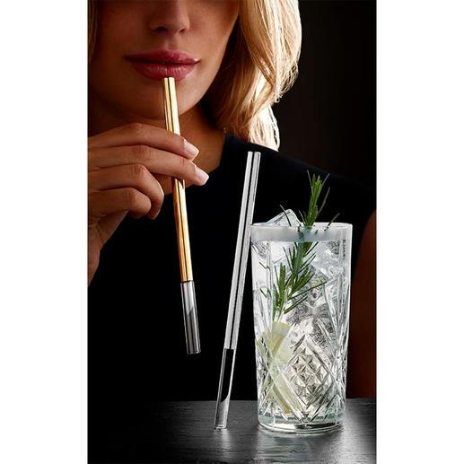 Glas-Trinkhalm, edel Die Luxus-Variante der Glastrinkhalme: stilvoll mit Platin oder Gold veredelt.