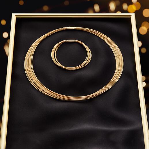 10-reihiges Gold-Armband oder 20-reihiges Gold-Collier Prunkvolles Schmuckstück von bleibendem Wert: Das Collier aus über 40Gramm kostbarem 750erGold.