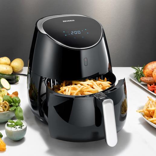 Heißluft-Fritteuse XXL 5-l-Volumen (statt oft nur 2,5 l). 2.000 W (statt oft nur 1.500 W). Ideal für die fett- und kalorienarme Küche. Und für große Portionen.
