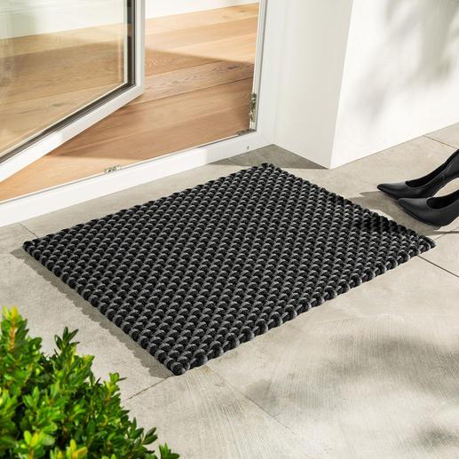 Die Kordelmatte Standard in schwarz/grau (72 x 52 cm) – perfekt auch als Fußmatte.