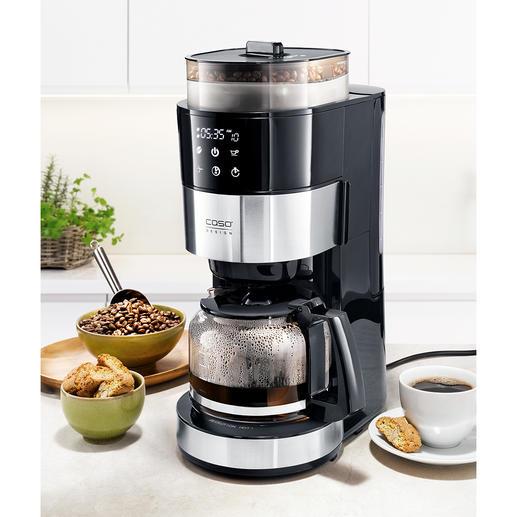 Caso Kaffeemaschine mit Mahlwerk Die Filter-Kaffeemaschine mit Kegelmahlwerk, Bohnenbehälter, Tassenfunktion sowie Wasser- und Mahlmengen-Automatik.