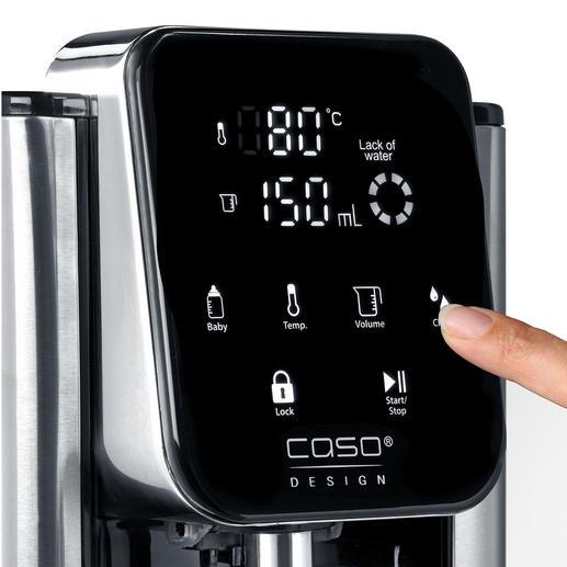 Einfach per Fingertipp bestimmen Sie die Ausgabetemperatur und beziehen auf Knopfdruck bis zu 2,7l heißes Wasser.