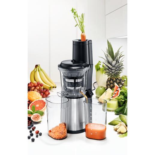 Caso Slow Juicer SJW 500 Ultrakompakt: mit XXL-Einfüllschacht für ganze Früchte. Spart lästiges Zerteilen und Platz auf der Arbeitsfläche.