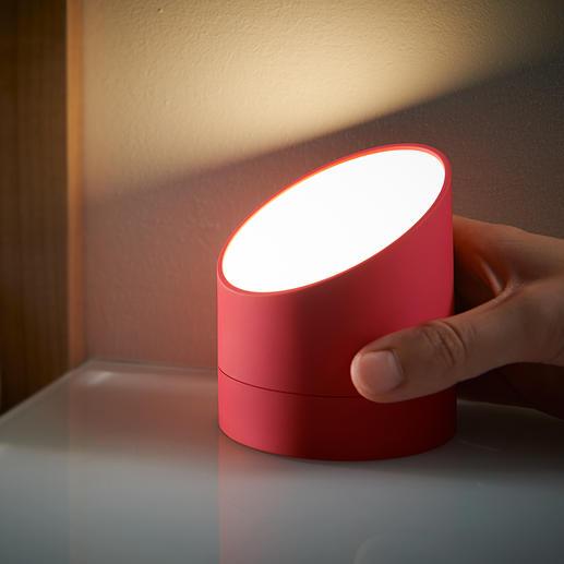 Einfach auf den Kopf stellen: der Wecker wird zur praktischen, dimmbaren Leuchte.