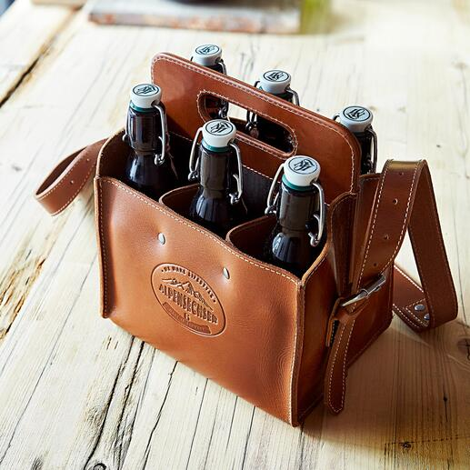 Büffelleder Bottle-Bags Die stilvolle Art, Getränke zu transportieren. Handmade in Germany.