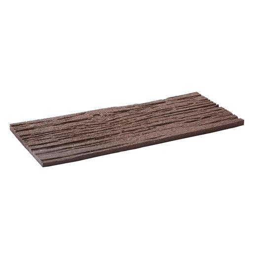 Braune Planken in Bahnschwellen-Optik.