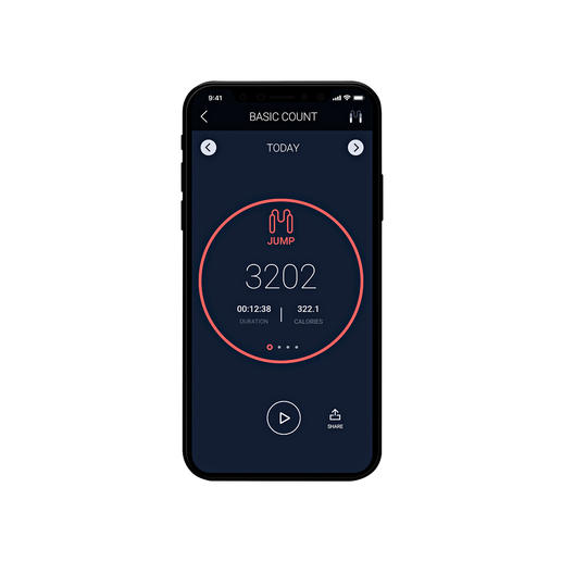 Die Smartphone-App* zeigt neben der Sprungzahl auch die absolvierte Zeit und die verbrauchten Kalorien.