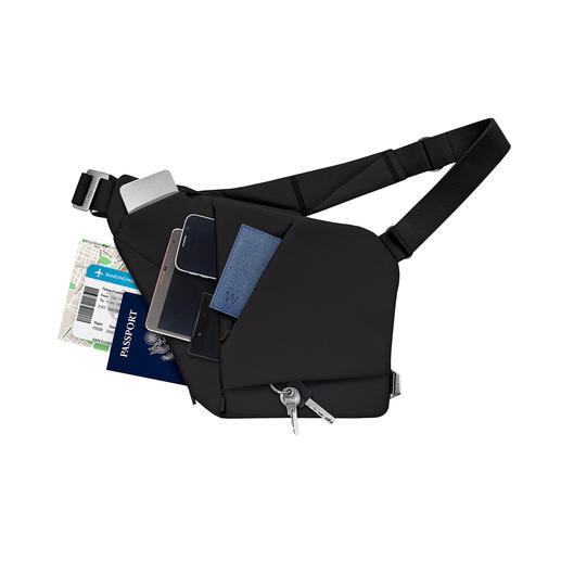 Vier speziell geschnittene Polsterfächer bieten Platz für bis zu 3mobile Geräte, Brieftasche, Brille, Schlüssel, Powerbank,…