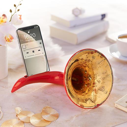 Nostalgischer Smartphone-Verstärker - Ohne Strom, ohne Kabel. Nostalgie-Design mit verblüffender Funktion. Handmade in Italy.