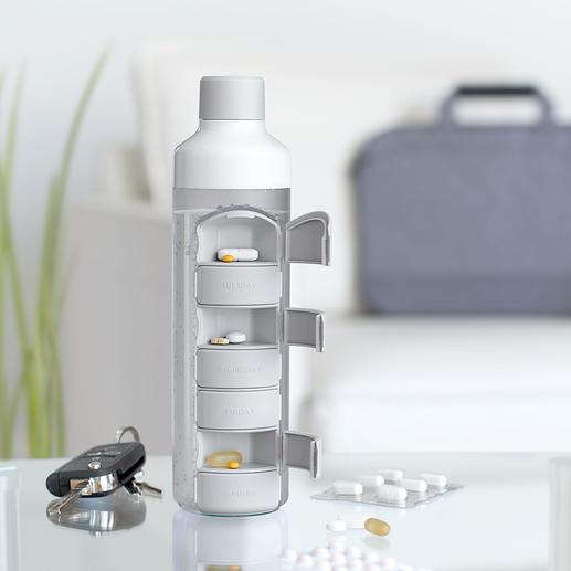 Trinkflasche mit Tablettenfach - Die Tabletten immer dabei – und das Wasser zum Einnehmen direkt zur Hand.