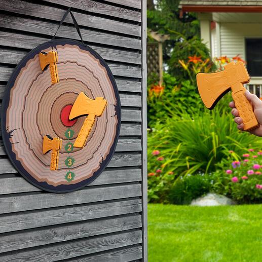 Axtwurf-Spiel Die archaische Alternative zum Darten: Axtwurf. Jetzt als gefahrloser Spiel- und Partyspaß für Heim und Garten.