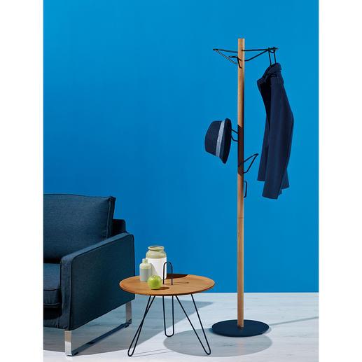 Standgarderobe Edles Design aus Eichenholz und schwarzem Metall. Und ein wahres Raumwunder.