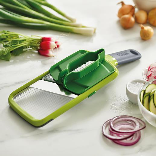 Joseph Joseph Multi-Grip-Mandoline™ Sicherer hobeln: Dank Multi-Griff für Gemüse und Obst fast jeder Größe.