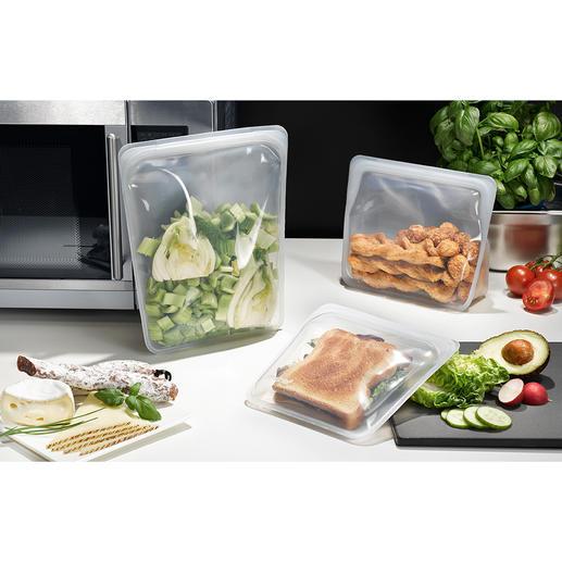 Stasher Bag Nachhaltiger und vielseitiger als Plastikbeutel: Stasher Bags, die wiederverwendbaren Lebensmitteltaschen aus Silikon.