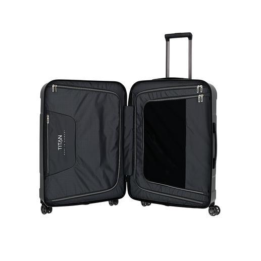 Mit komfortabler Innenausstattung: 2geschlossene Packwände mit je 1aufgesetzten Reißverschlusstasche, 1Reißverschlussfach für Wertsachen, Spanngurte.