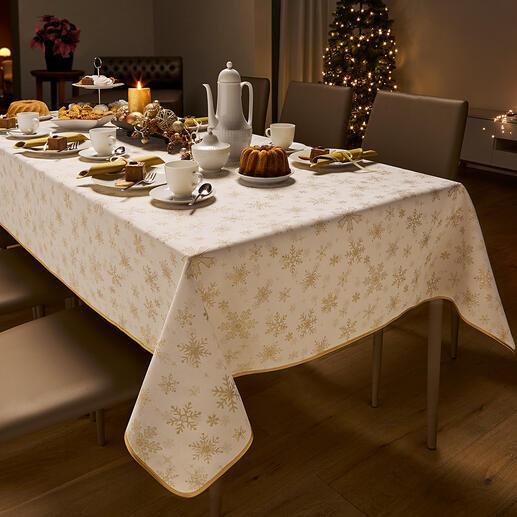 Damast-Weihnachtsdecke Elegantes Glitzern: Tischdecken aus kostbarem Damast.