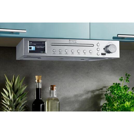 Küchen-Musikcenter EliteLineICD2200SI Internet-, Digital- und FM-Radio, Bluetooth, USB-Wiedergabe und CD-Player. Zum platzsparenden Unterbauen.
