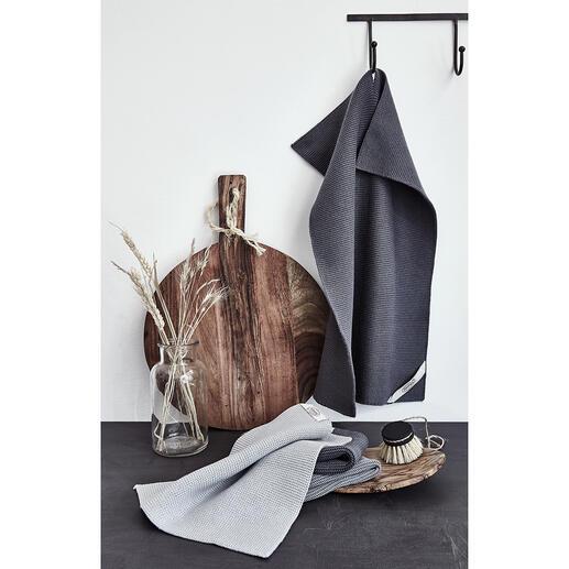 GestrickteWischtücher, 3er-Set oder Küchen-/Trockentuch Die schöneren Wisch- und Trockentücher: gestrickt aus natürlicher Baumwolle (statt Kunstfaser). Robust, saugstark und nachhaltig.
