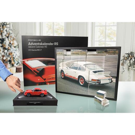 Porsche-Adventskalender 911CarreraRS2.7 Tägliche Freude: der Adventskalender mit Bausatz des legendären Porsche 911 Carrera RS. Als Modell im Maßstab 1:24.