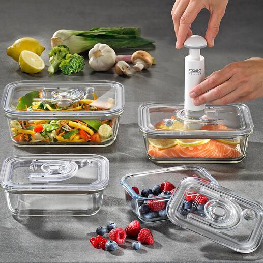 VakuumdosenausGlas,4er-Set Halten Ihre Lebensmittel bis zu 8-mal länger frisch. Froster-, backofen- und mikrowellenfest und lebenslang hygienisch.