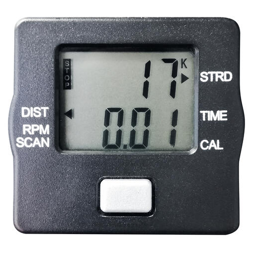 Energieverbrauch, Zeit, Distanz, Schrittzahl und Umdrehungen –leicht ablesbar auf dem LCD-Display.