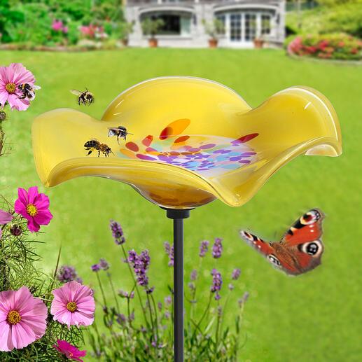 Insektentränke auf Metallstecker Die prächtige Glasblume: erfrischender Treffpunkt für Bienen, Hummeln, Falter, Vögelchen, ... Wetterfest durchgefärbt. Mit 120 cm-Erdspieß aus stabilem Metall.