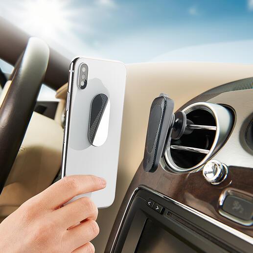 SOSSmartphone-Halter Universeller Smartphone-Halter und unverzichtbares Notfall-Tool in einem. Magnethaftung. Glasbrecher und Gurtschneider integriert.