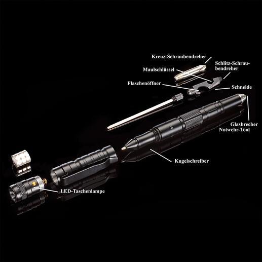 Solider Multifunktions-Kugelschreiber und griffbereites Notwehr-Tool zugleich.