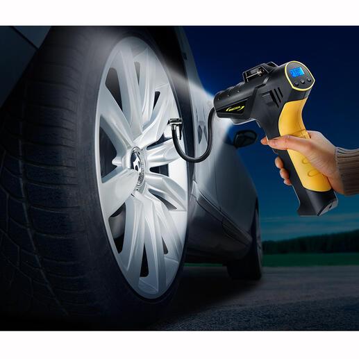 Akku-Kompressor-Pumpe7,5 bar Reifendruck prüfen und korrigieren – zu Hause und unterwegs. Komfortabel wie an der Tankstelle.