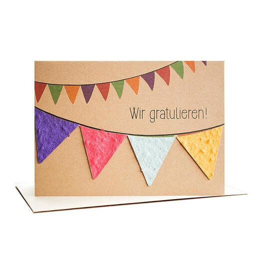 """Grußkarte """"Wir gratulieren"""" mit Wimpeln aus handgeschöpftem Saatpapier."""