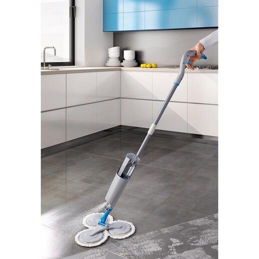 360°-Spray-Mopp Der geniale 360°-Spray-Mopp. Sprühen, kurz wischen – sauber. Ohne Nachtrocknen. Spart jede Menge Aufwand und Zeit.