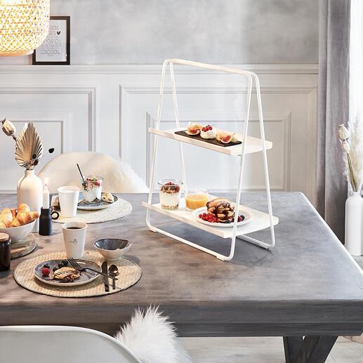 Tragbares Regal Mobiler Beistelltisch. Frühstück- und Snackbar. Praktische Etagere und Kaffee/Tee-Tablett. Perfekt für Homeoffice, Küche, Hausbar, Wohnraum, Bad, Terrasse.