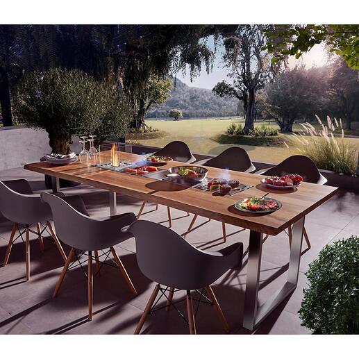 Design-Grilltisch mit 4 Einsätzen Table-Cooking in seiner schönsten Form. Jeder Tisch ein Unikat, handgefertigt in der Schweiz. Exklusiv bei Pro-Idee.