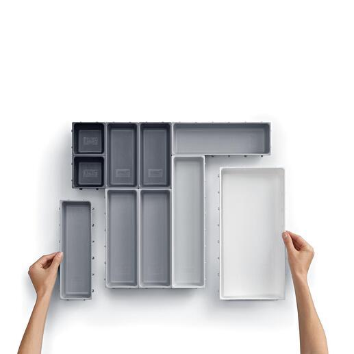 Die 10einzelnen Elemente in 5unterschiedlichen Größen können Sie beliebig anordnen – so wie es zu Ihren Schubladengrößen und Wünschen passt.