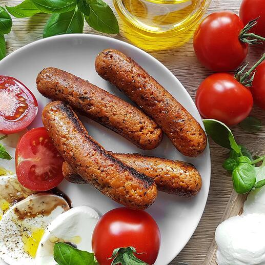 Einfach hausgemacht: Ihre vegetarischen und veganen Würstchen aus gesunden, frischen Zutaten.