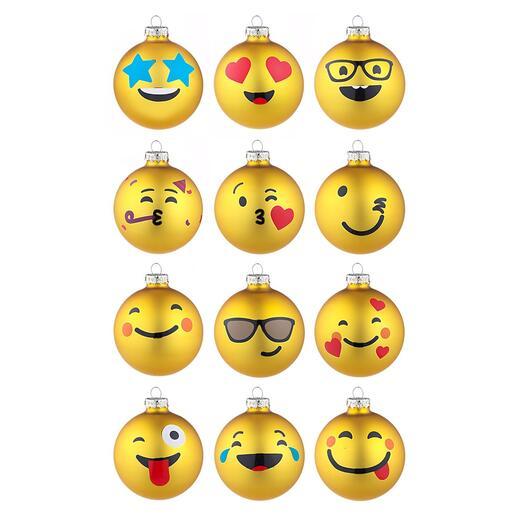Emoji-Weihnachtskugeln, 12er-Set