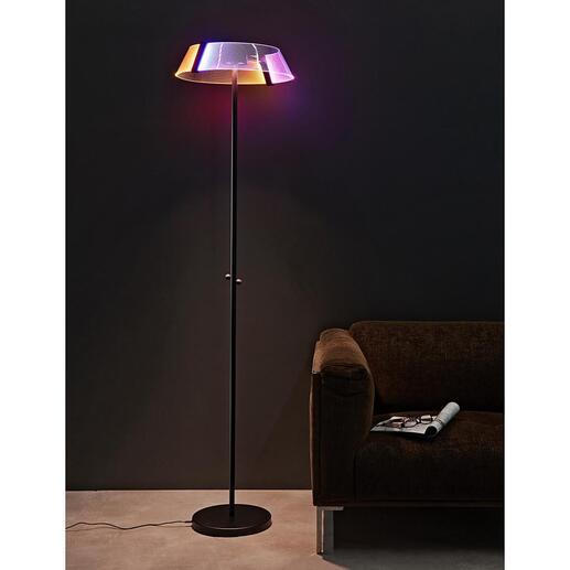 Design-Stehleuchte2.0 Die Stehleuchte 2.0: Hightech, kombiniert mit prämiertem Design. Modernste, glühlampenlose Lightgrafic-Technologie. 5 wählbare Lichtfarben mit 5 - 100 % Helligkeit.