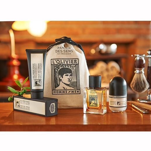 L'OlivierGeschenk-Set oder Gesichtspflege, 75 ml L'Olivier: die erste Duft- und Pflegelinie für den Herren von Panier des Sens – das französische Label für Naturkosmetik.