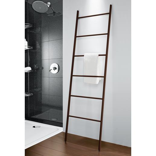 Eschenholz-Leiter - Passend zum Vorleger aus Thermoesche. Mit Platz für bis zu 10 Hand- und Badetücher.