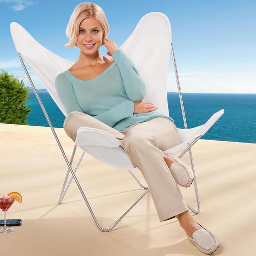 Die Outdoor-Variante: mit matt gebürstetem Edelstahl-Gestell und weißem Acrylbezug.