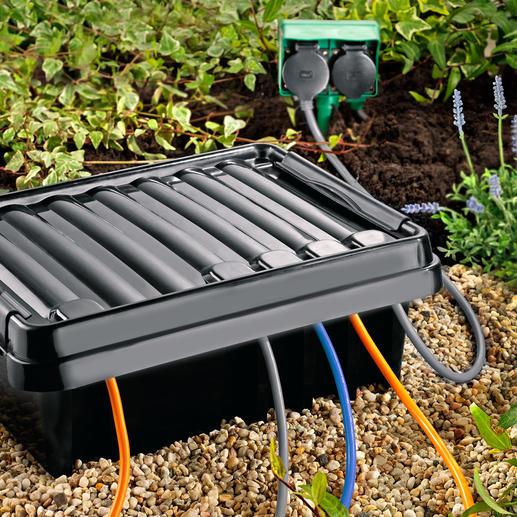 DRi®BOX - Der sichere Outdoor-Platz für Ihre mobile Mehrfach-Steckdose. Wetterfest, staubdicht und strahlwassergeschützt.