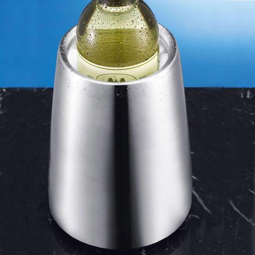 Edelstahl-Weinkühler Edelstahl-Weinkühler mit Rapid-Ice®-Element: kühlt statt nur zu isolieren – ohne tropfendes Eis.