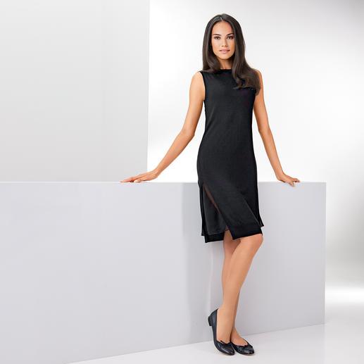 Who's Who Feinstrick-Kleid Strick. Materialmix. Schwarz. 3 modische Treffer – 1 Kleid. Made in Italy. Von Who's Who.