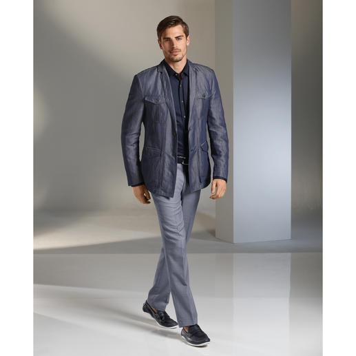 Versace Denim-Field-Sakko Das perfekte Sakko ist lässig. Im Denim-Look. Aus luftiger Leinenmischung. Und von Versace.