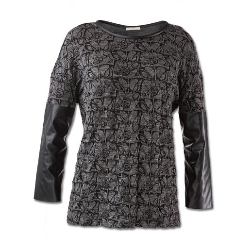 Pinko Rock-Chic-Shirt - Fashion-Facts des Shirts: Schwarz/Grau. Spitzen- und Leder-Optik.