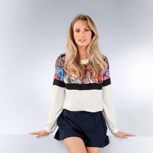 cavalli CLASS Blusen-Sweater - Bluse oder Sweatshirt? Farbe oder Schwarz/Weiß? Flower-Power oder Clean-Chic? Alles! Gekonnt gemixt von Roberto Cavalli.
