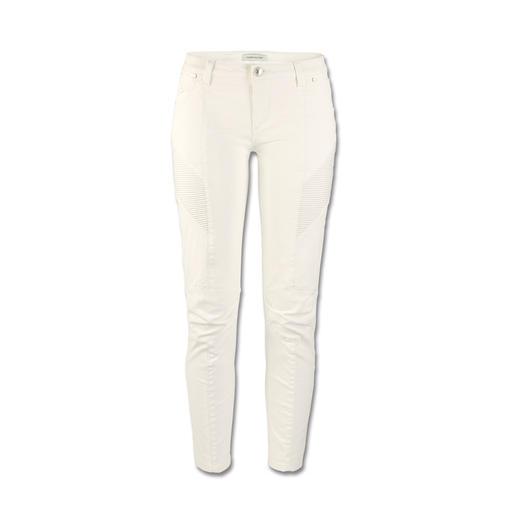 Pierre Balmain Skinny Biker-Pants, weiß - Top-Trend und genau der Stil von Balmain: Skinny-Pants im Biker-Look.